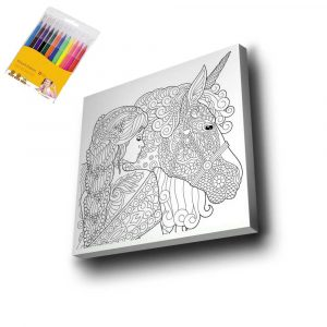 Kadın & Unicorn Mandala Tuval