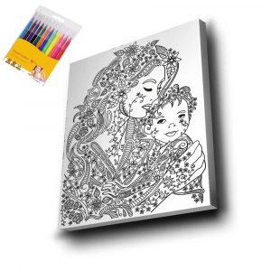 Anne ve Çocuk Mandala Tuval