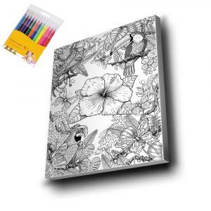 Papağan & Çiçek Mandala Tuval
