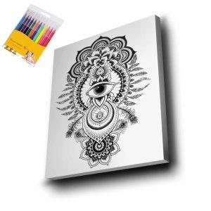 Göz Desenli Mandala Tuval