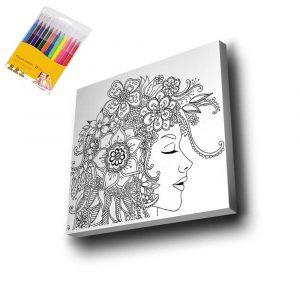Kadın ve Çiçek Mandala Tuval