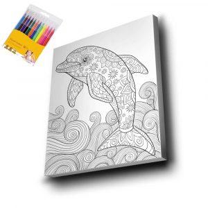 Yunus Balığı Mandala Tuval