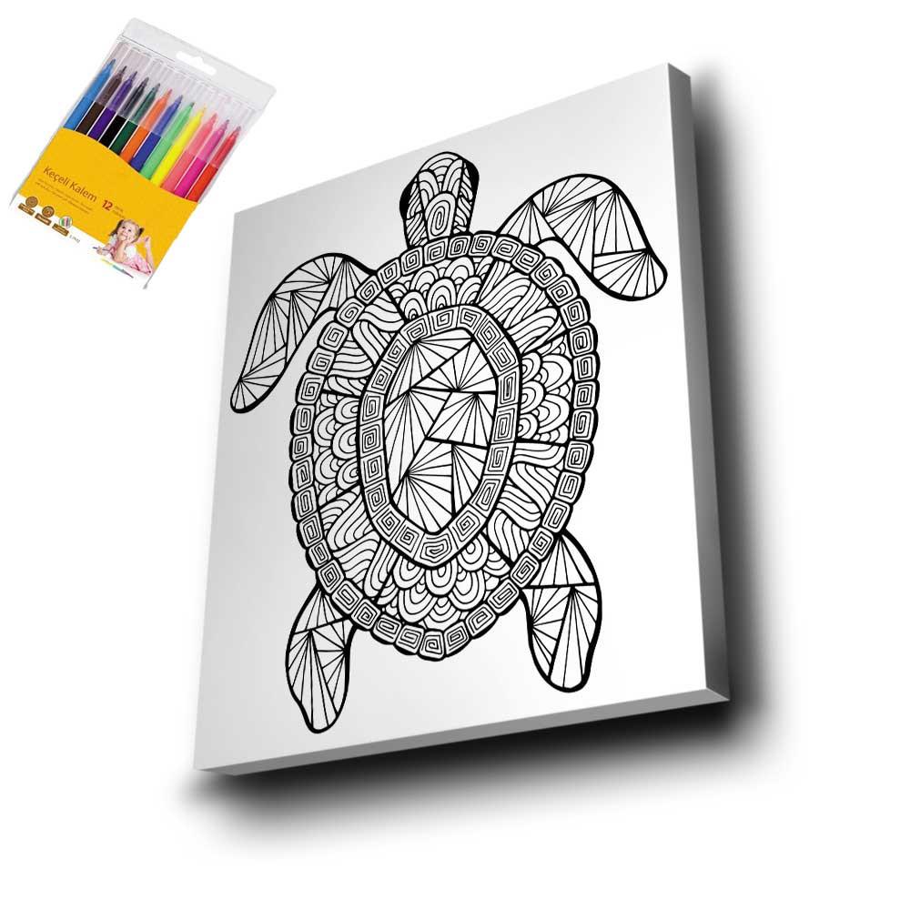 Kaplumbağa Mandala Tuval