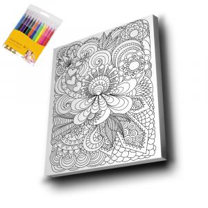 Çiçek-Desen-2-Mandala-Tuval