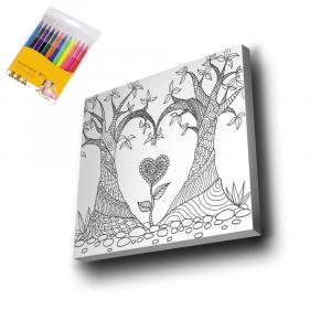 Ağaç-Kalp-Çiçek-Mandala-Tuval