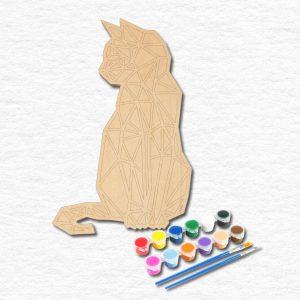 Kedi Ahşap Manadala Boyama Seti
